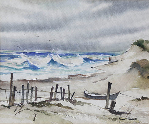 """58-4878 John Hare Watercolor """"Lone Surfcaster"""" B_MG_2488"""