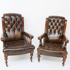 61-2574 Pair of Leather Mr. and Mrs. Armchairs A_MG_2452