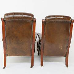 Pair of Mahogany and Tufted Leather Mr. and Mrs. Armchairs