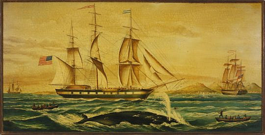 7-3583 Vintage Oil Whaling Scene with Whale Ship A_MG_2679