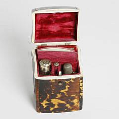 Early 19th c. Regency Tortoiseshell Lady's Traveling Box