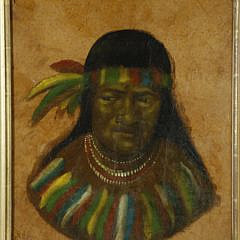 Vintage Oil on Hide Portrait of a Native American