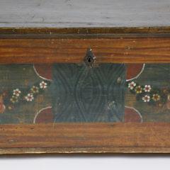 Large Antique Paint Decorated Lift Top Blanket Chest