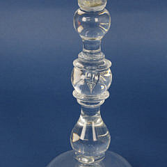 Pair of Signed Steuben Clear Crystal Candlesticks