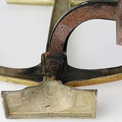 Pair of Mid Century Brass Anchor Andirons