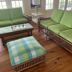 Palecek Bamboo Sofa with Lime Green Cushions