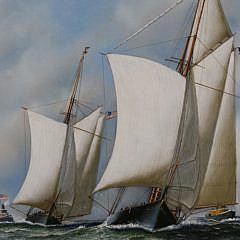 "Antonio Jacobsen Oil on Canvas ""America's Cup Trials, 1871, Yacht Dauntless"""