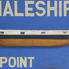Contemporary Hand Painted Wooden Nantucket Half Hull Trade Sign
