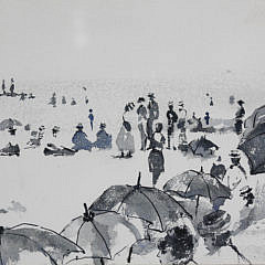 """Andrew Shunney Watercolor on Paper, """"Beach Goers, Nantucket"""""""