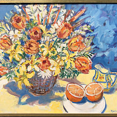 "1-4896 Sybil Goldsmith ""Flowers in a Basket and Sliced Orange"" A IMG_4315"