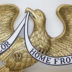 Billy Rowe Hand Carved Wood and Gilt Decorated Spread Wing Eagle Plaque