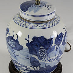 Pair of Blue and White Canton Style Porcelain Covered Ginger Jar Lamps