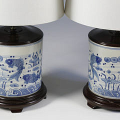 Pair of Blue and White Chinese Canton Style Cylindrical Lamps