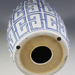 Chinese Blue and White Greek Key Design Garden Stool