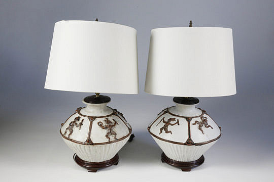 101 DD Pair of Ceramic Ancient Aztec Design Lamps A_MG_4032