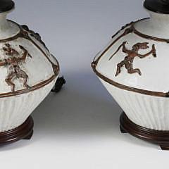 Pair of Ceramic Ancient Aztec Design Lamps