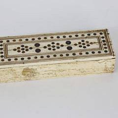 Prisoner of War Carved Bone Domino Set in Box, circa 1800