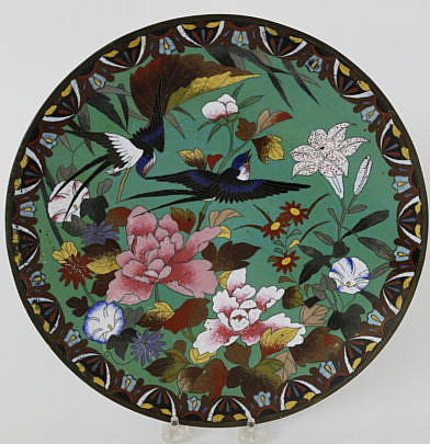 13-4800 Cloisonne Floral and Bird Decorated Charger A_MG_3755