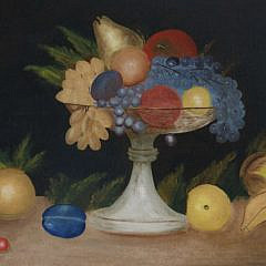 "Naive Oil on Canvas ""Tabletop Fruit Still Life"", 19th Century"
