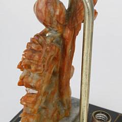 Antique Chinese Soapstone Phoenix Bird Lamp