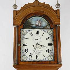 James Young, Portsmouth, England Inlaid Mahogany Tall Case Clock, circa 1825-1830