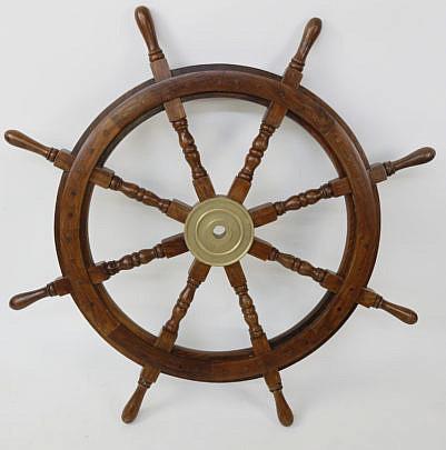 1537-54 Mahogany and Brass Ship's Wheel A_MG_3849