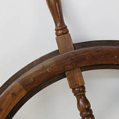 Contemporary Mahogany and Brass Ship's Wheel