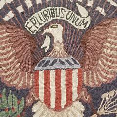 """Round """"E. Pluribus Unum"""" Hooked Rug"""