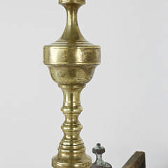 Pair of 19th Century Brass Multi Turned Finial Top Andirons