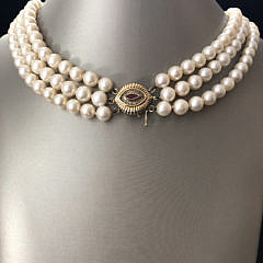 Triple Strand White Cultured Pearl Necklace with 14k Yellow Gold, Ruby, and Chip-Cut Diamonds