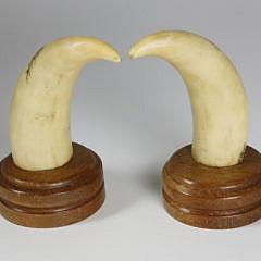 Pair of 19th c. Scrimshaw and Polychrome Whale Teeth, circa 1860-1870
