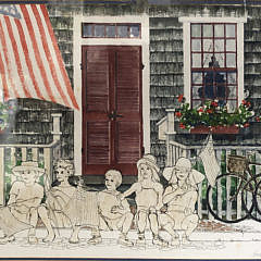 "Barbara Kauffmann-Locke Pen and Watercolor ""Fourth of July"""