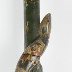 American Folk Art Carved and Polychromed Walking Stick, circa 1850