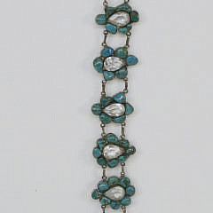182-4800 Polished Turquoise Nugget and Clear Faceted Quartz Sterling Silver Belt A_MG_3723