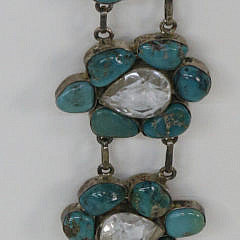 Polished Turquoise Nugget and Clear Faceted Quartz Sterling Silver Belt