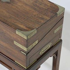 19th c. Mahogany Brass Bound Lap Desk on Stand