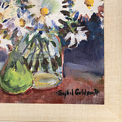 """Sybil Goldsmith, Oil on Canvas, """"Daisies in a Glass Jar and Green Pear"""""""