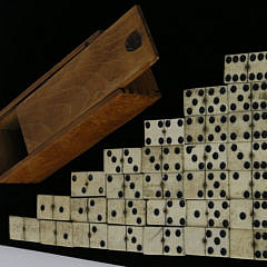 Complete Set of 19th c. Sailor Made Whalebone and Ebony Dominoes