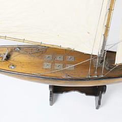 English Vintage Fully Rigged Sailing Pond Yacht Model