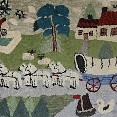 2110-955 Hooked Rug with Horse Drawn Carriage A_MG_3590