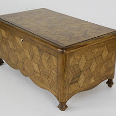 Geometric Tumbling Block Parquetry Inlaid Sewing Box, 19th c.