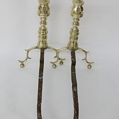 Pair of 19th c. Brass Pennsylvania Multi-turned Finial Top Andirons with Matching Tools
