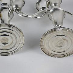 Pair of Sterling Silver Three-Light Candelabra