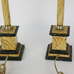 Pair of Marbleized Candlestick Lamps