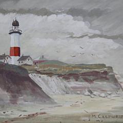 "Martha Cartwright Oil on Artist Board, ""Sankaty Light, Nantucket"""