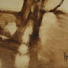 "Warren Krebs Oil on Canvas, ""A Young Boy's Dream"""