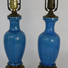 24-4878 Pair of Turquoise Porcelain Lamps A_MG_3925