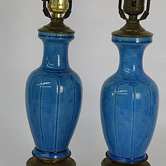 Pair of Turquoise Porcelain Lamps