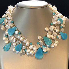 257-4800 Turquoise Coin Pearl Necklace A IMG_4195