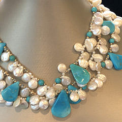 Esther Kamin White Coin Pearl and Polished Turquoise 3-Strand Necklace